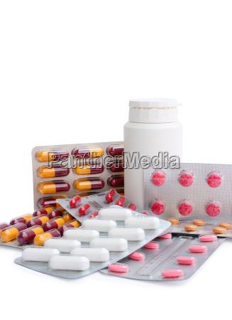 sortierte pillen clipping pfad
