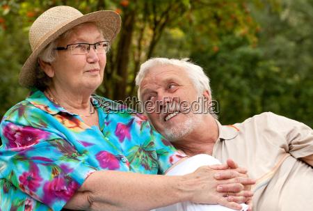 senior couple enjoying the good weather