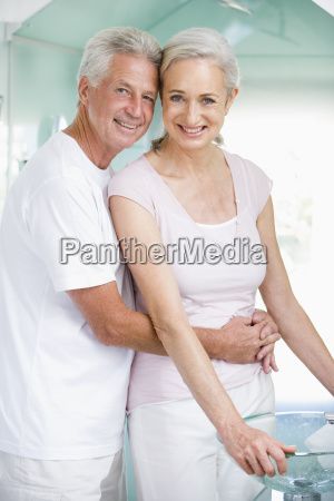 couple embracing at a spa and