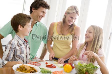 family preparing mealmealtime together