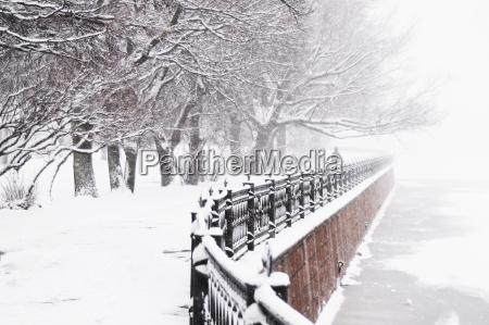 the kronverk embankment at snowfall in