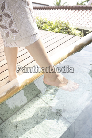 foot of japanese woman soaking in