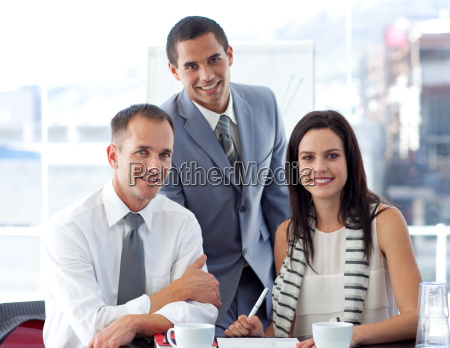 business people working together and smiling