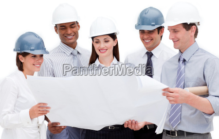 multi ethnic group of architects wearing