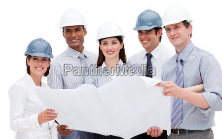 international architects holding a blueprint