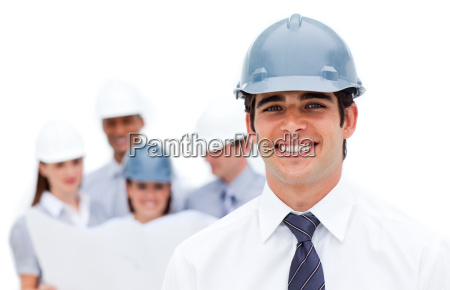 focus on an architect wearing a