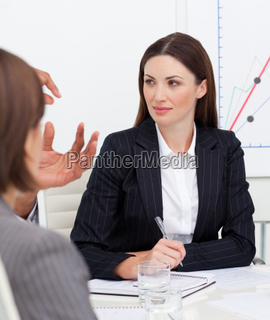 portrait of attractive businesswoman talking with