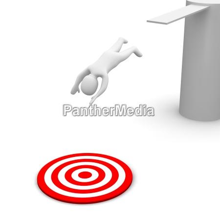man jumping to red target