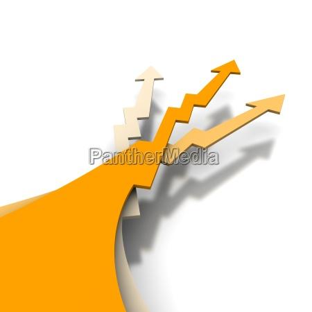 three orange arrows