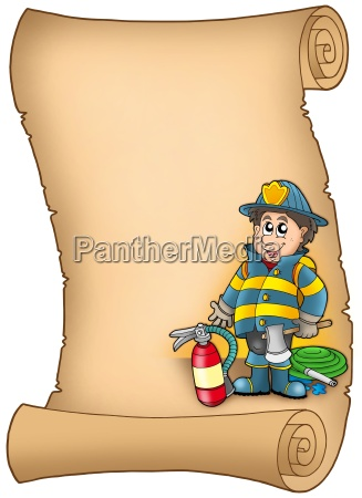 parchment with fireman