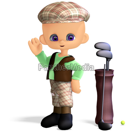 cute and funny cartoon golf player
