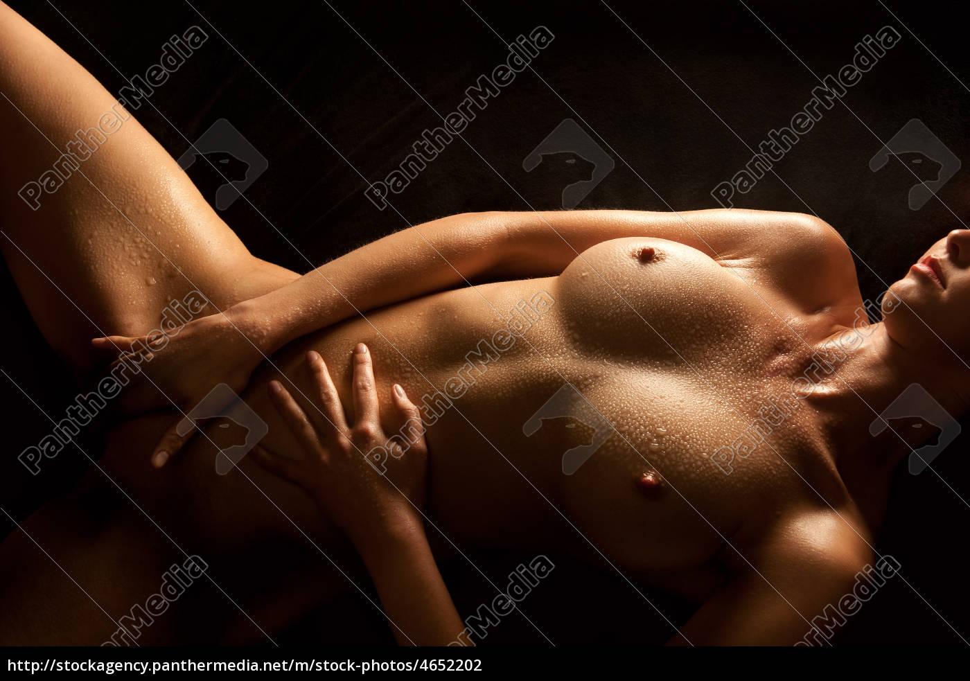 schöne, nackte, frau, streichelt, sich, - 4652202