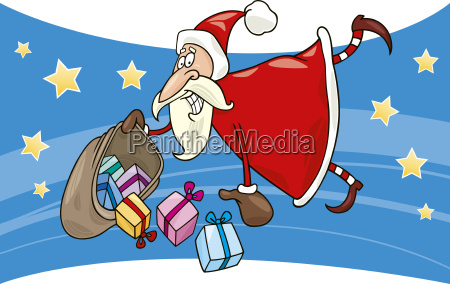 flying santa with gifts