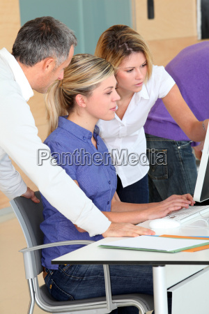 office workers on business training