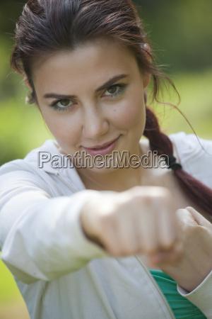 fitness woman punching