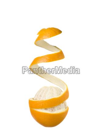 half peeled orange