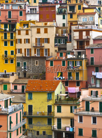 colourful texture of manarola village