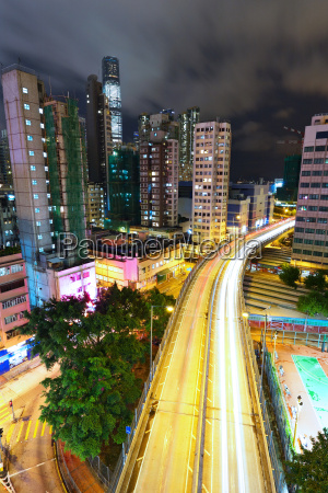 modern city and highway at night