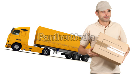 courier and orange truck