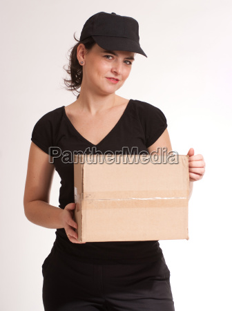 attractive delivery girl