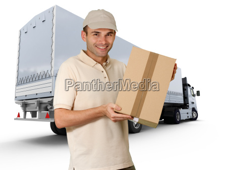 delivery man and trailer truck