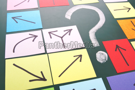 question mark with different direction