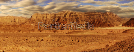 panoramic view on mountains of arava