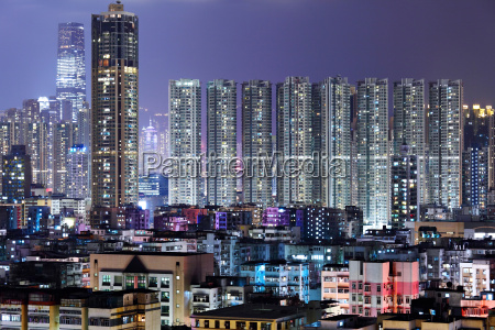 crowded building at night in hong