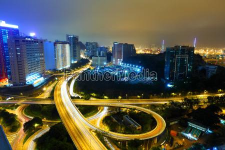 highway at night in modern city
