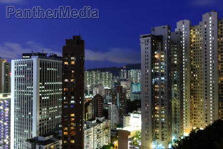 crowded urban at night