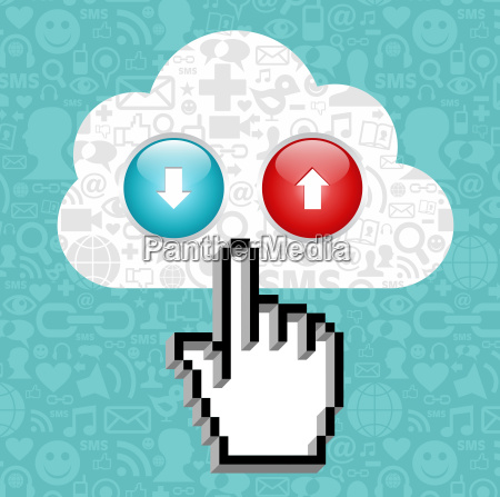 cloud computing button and cursor hand