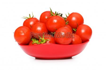 wet whole tomatos arranged isolated on