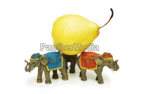 three elephants holding yellow pear isolated