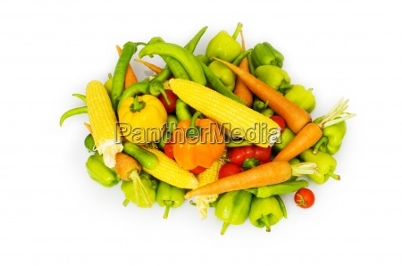 various vegetables isolated on the white