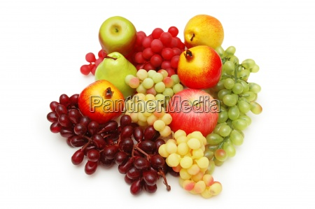 selection of fruits isolated on the