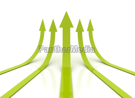 green arrows growth 3d illustration