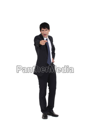 businessman angrily pointing his finger