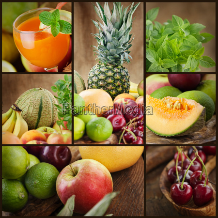 fresh fruit and juice collage
