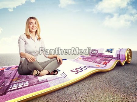 woman money carpet