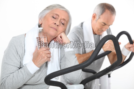 couple of seniors having exercise