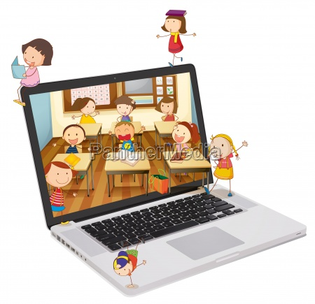 school students picture on a laptop