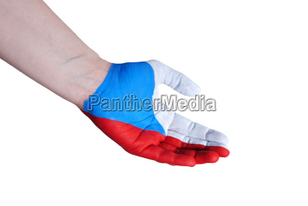 hand in the colors of czech