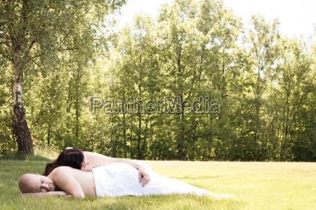 romantic couple alone in the field