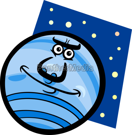 funny neptune planet cartoon illustration