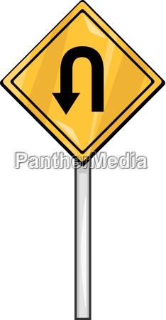 u turn sign clip art cartoon