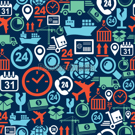 shipping logistic mobile seamless pattern icons