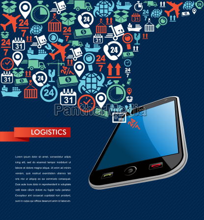 shipping logistics app mobile text icons