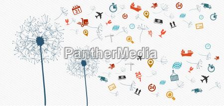 shipping logistics icons abstract dandelion illustration