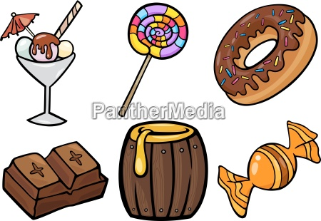 sweet food objects cartoon illustration set