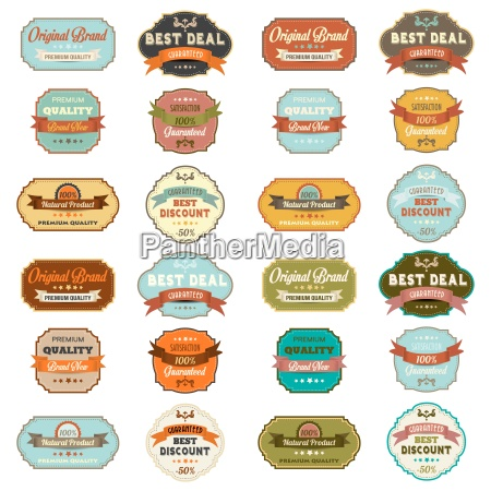 set vintage retro etiketten